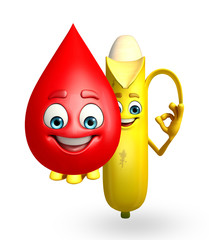 Cartoon character of banana fruit with blood drop