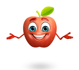 Cartoon character of apple fruit