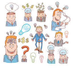 Idea and finance icons doodle set. Hand drawn vector illustration.