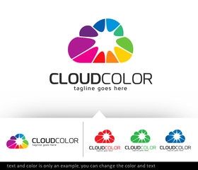 Cloud Color Logo Template Design Vector