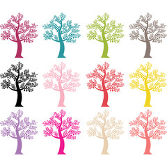 Colorful Tree Silhouette