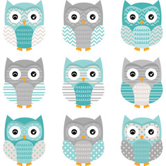 Aqua Grey Cute Owl Collections