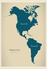Modern Map - America North and South