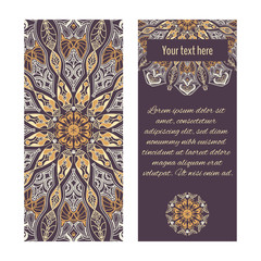 Cards or banners with ornamental circular ornaments