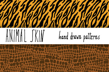 Animal skin hand drawn texture, Vector seamless pattern set, sketch drawing clocodile and tiger skin textures