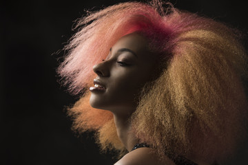 Orange Hair African American Woman