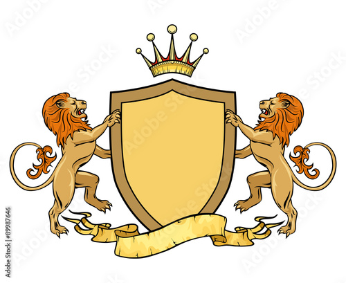 Heraldic Lions With Shield And Ribbon Emblem Or Badge Template