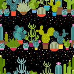 Wall Mural - Horizontal patterns of cactus in flat style