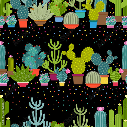 Wall mural Horizontal patterns of cactus in flat style