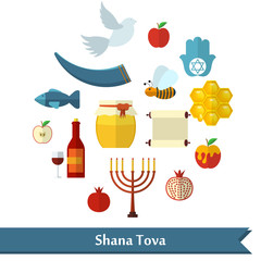 Rosh Hashanah, Shana Tova or Jewish New year flat vector icons set, with honey, apple, fish, bee, bottle, torah and other traditional items in round shape