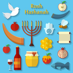 Rosh Hashanah, Shana Tova or Jewish New year flat vector icons set, with honey, apple, fish, bee, bottle, torah and other traditional items