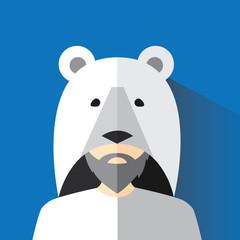 A man dressed as a polar bear