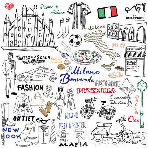 Milan Italy sketch elements. Hand drawn set with Duomo cathedral ...