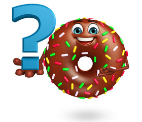 Cartoon character of donuts with question mark