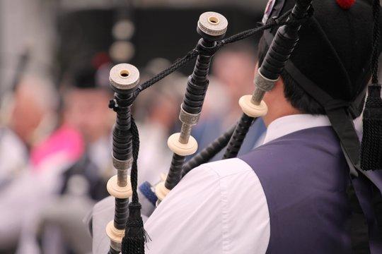 Festival delle band di cornamuse in Glasgow, esibizione di una banda: particolare.