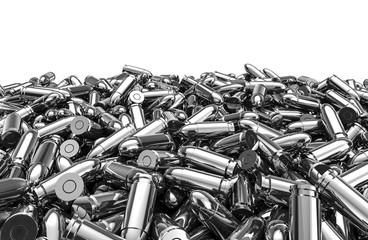 Silver bullets pile / 3D render of 9 mm bullets