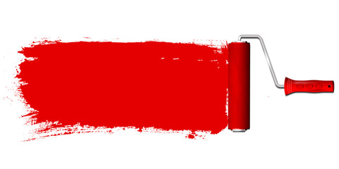Paint roller and red color background