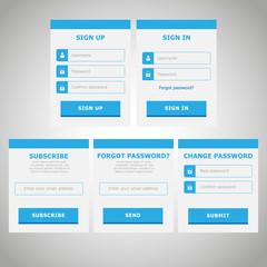 UI Web Elements Flat Design | Blue
