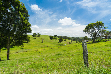 Lush green hilly rural landscape of south-east Queensland, Australia