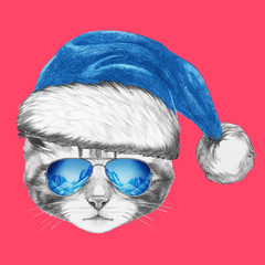Portrait of Cat with Santa Hat and sunglasses. Hand drawn illustration.