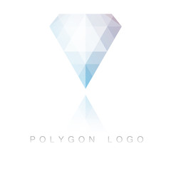 Modern style diamond polygon logo with reflection.