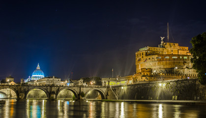 In de dag Stockholm Night view over tiber river, saint peters basiica, castel sant angelo and ponte sant angelo in rome