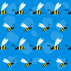 Funny bee. Cartoon bright colored graphic abstract seamless pattern