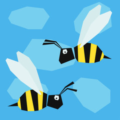 Funny bee. Cartoon bright colored graphic abstract illustration