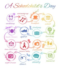 A Day Of A Schoolchild. Sequence of events presented as infographics via pictograms.