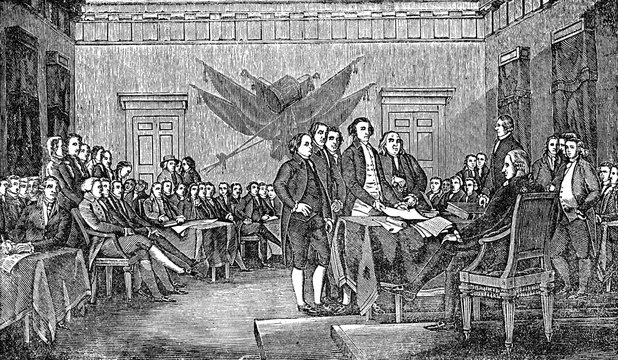 An engraved illustration of the signing the USA  American Declaration of Independence, from a Victorian book dated 1880 that is no longer in copyright