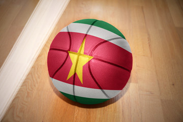 basketball ball with the national flag of surinam
