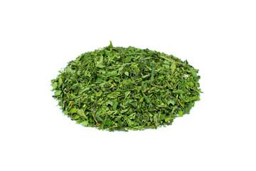 Heap of green hemp tea on white background