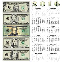 2016 Creative financial calendar for print or web