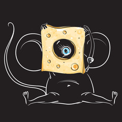 The mouse looks out of the cheese on black background