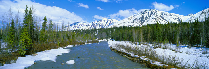 Snowy mountains and Chulitna River, Route 3 near Broad Pass, Alaska