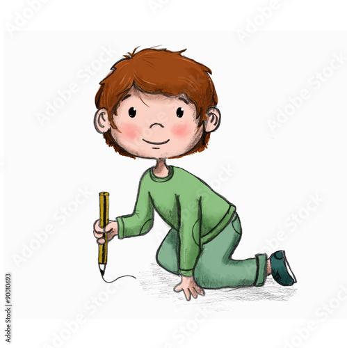 Niño pintando en o escribiendo sin fondo\
