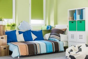 Green boy room interior