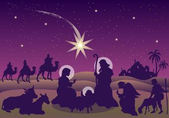 Scena della Natività con Magi, Pastore e Angelo