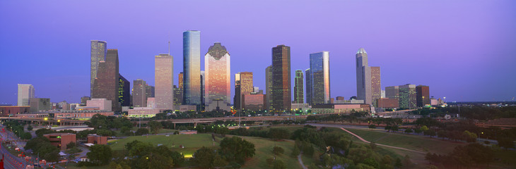 Fotobehang Texas Houston Skyline, Memorial Park, Dusk, Texas