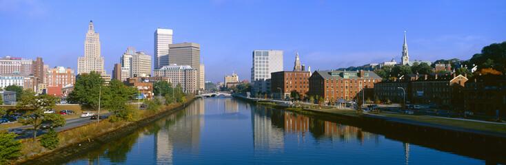 Seekonk River Passing Through Providence, Rhode Island