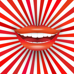 Smiling mouth on red sunburst background