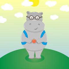 Hippo boy in eyeglasses