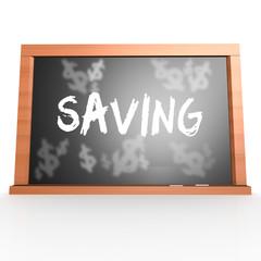 Bllack board with saving word