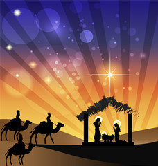 Christmas Nativity Family Scene vector image