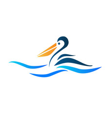 Logo of pelican bird vector