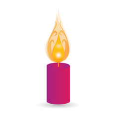 Candle for holidays with swirly flames logo vector