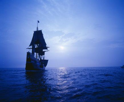 Mayflower II replica in moonlight, Massachusetts