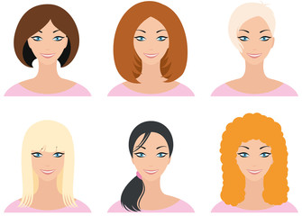 Woman's face with different types of haircuts