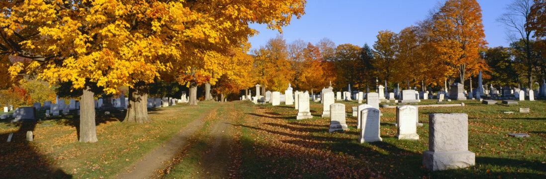 Cemetery in autumn at Brattleboro, Vermont