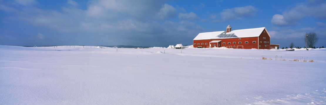 This is a red barn in the snow on Darling Hill Road. It is representative of winter in New England.